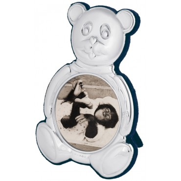 FR676   Teddy Bear Shape Photo Frame 7cm Diameter Sterling Silver Ari D Norman