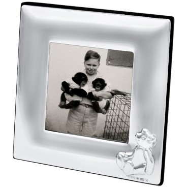 FR692   Baby Photo Frame with Embossed Teddy 5cm x 5cm Sterling Silver Ari D Norman