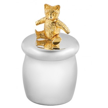 GT1085   Tooth Fairy Box with Gold Plated Moving Teddy Bear Sterling Silver Ari D Norman