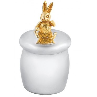 GT1086   Tooth Fairy Box with Gold Plated Moving Rabbit Sterling Silver Ari D Norman