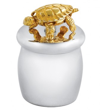 GT2242   Tooth Fairy Box with Gold Plated Moving Turtle Sterling Silver Ari D Norman
