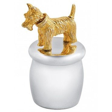 GT2243   Tooth Fairy Box with Gold Plated Moving Scottish Terrier Sterling Silver Ari D Norman