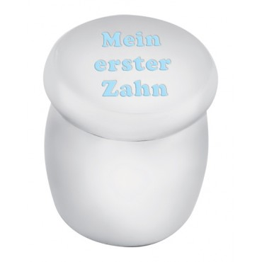 GT2271   Tooth Fairy Box with Engraved 'Mein erster Zahn' in Blue Enamel Sterling Silver Ari D Norman