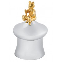 GT349   Tooth Fairy Mushroom Shape Box with Gold Plated Teddy Bear Sterling Silver Ari D Norman