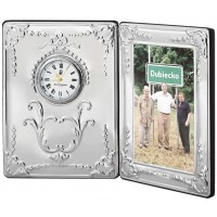CLK412   Victorian Pattern Clock and Frame Sterling Silver Ari D Norman