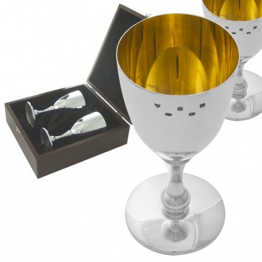 BOX142 - Pair of Wine Goblets Hallmarked Sterling Silver Ari D Norman