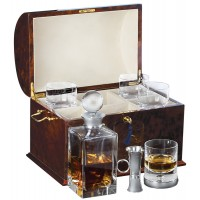GT2080   VIP Drinks Set Housed in a Burr Wood Cabinet Sterling Silver Ari D Norman