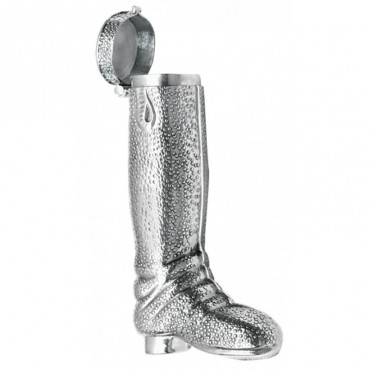 GT57   Victorian Inspired Riding Boot Shaped Pill Box or Toothpick Holder Sterling Silver Ari D Norman