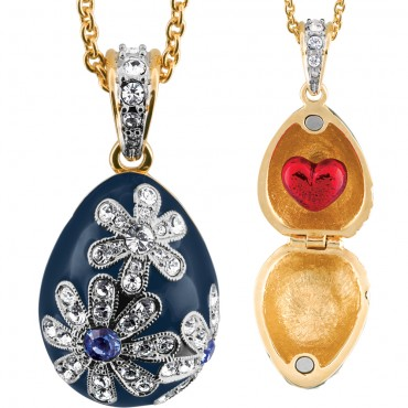 ANC11   Gold Plated Blue Egg and Red Heart Pendant on Chain Fashion Jewellery