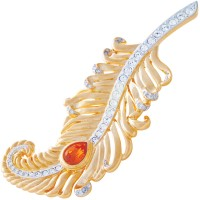 ANC7 - Gold plated metal alloy and Austrian crystal feather brooch