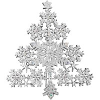 JB127   Silver Plated Snowflake Christmas Tree Brooch With Austrian Crystals Jewelari of London