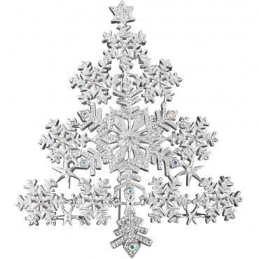 JB127   RhodiumPlated Snowflake Christmas Tree Brooch With Austrian Crystals Jewelari of London