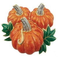 JB20 Gold plated pumpkin brooch pin in green and orange enamel with clear Austrian crystals