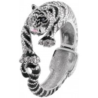 JBE9   Rhodium Plated Siberian Tiger Bangle with Swarovski Crystals Jewelari of London