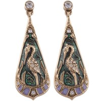 JEA15   Gold Plated Art Nouveau Heron Teardrop Earrings Jewelari of London