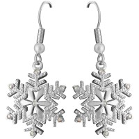 JEA3   Crystal Snowflake Earrings Jewelari of London