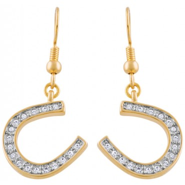 JEA34   Gold Plated Lucky Horseshoe Crystal Earrings Jewelari of London