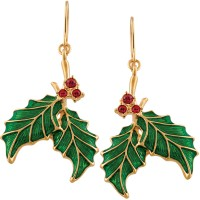 JEA6   Gold Plated Holly Earrings Jewelari of London