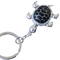 JK2   Rhodium Plated Black Enamel and Crystal Turtle Keyring Jewelari of London