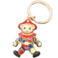 JK7   Gold Plated Harlequin Teddy Bear Keyring Jewelari of London