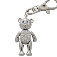 JK9   Rhodium Plated Teddy Bear Keyring / Bag Charm Jewelari of London