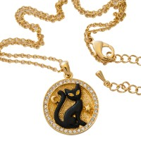 JNK21   Gold Plated Cat Medallion Necklace Jewelari of London