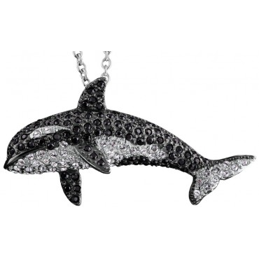 JNK35   Rhodium Plated Black and Clear Crystal Whale Brooch / Pendant