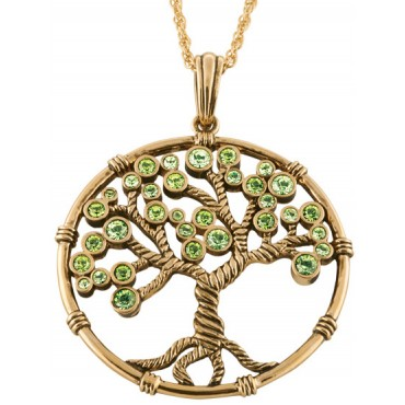 JNK38   Gold Plated Green Crystal Tree of Life Pendant Jewelari of London