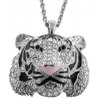 JNK42   Rhodium Plated Siberian Tiger Head Crystal Brooch / Pendant Jewelari of London