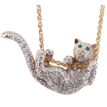 JNK45   Gold Plated Sliding Cat Necklace Jewelari of London