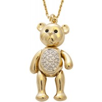 JNK59   Gold Plated Teddy Bear Necklace Jewelari of London