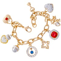 TC8   Gold Plated Charm Bracelet Jewelari of London