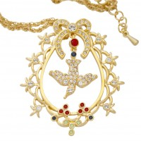 VC1   Gold Plated and Crystal Set Victorian Style Pendant on Chain Jewelari of London