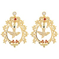 VC2   Gold Plated Crystal Set Victorian Style Earrings Jewelari of London