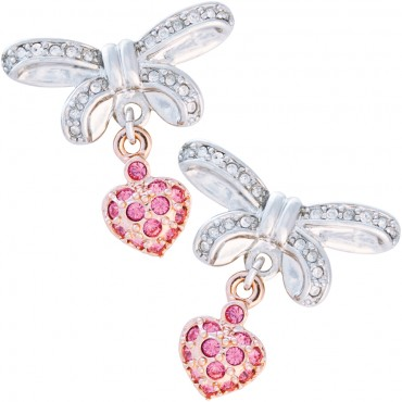 VC5   Rhodium and Rose Gold Plated Jewelled Bow and Heart Earrings Fashion Jewellery