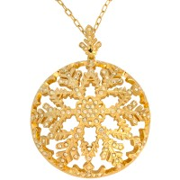 VC7   Gold Plated Snowflake Pendant on Chain Jewelari of London