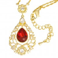 VNC3   Gold Plated and Crystal Set Victorian Style Necklace Jewelari of London