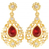 VNC4   Gold Plated Crystal Set Victorian Style Earrings Jewelari of London