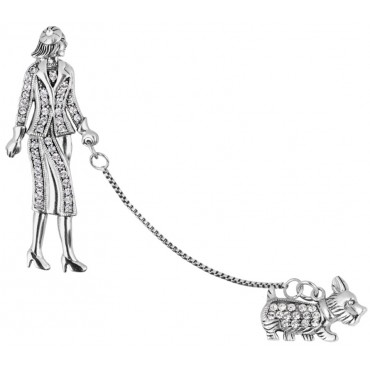 B308   Lady and Dog Brooch Sterling Silver Ari D Norman