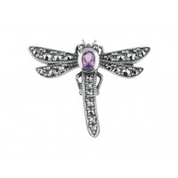 B274   Marcasite Dragonfly Brooch Sterling Silver Ari D Norman