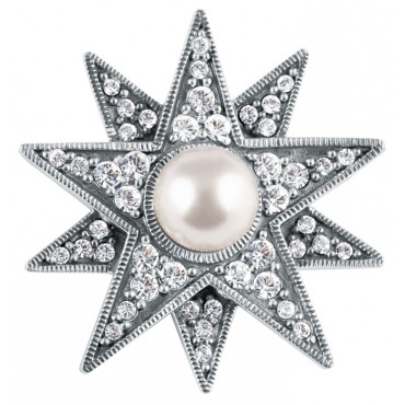 B211   Austrian Crystal and Pearl Star Brooch Sterling Silver Ari D Norman