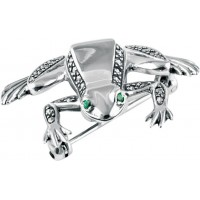 B334   Marcasite Frog Brooch Sterling Silver Ari D Norman