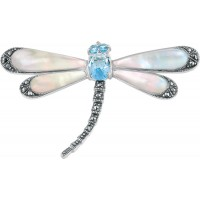 B388   Mother of Pearl Dragonfly Brooch Sterling Silver Ari D Norman