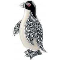 B507   Marcasite Penguin Brooch Sterling Silver Ari D Norman