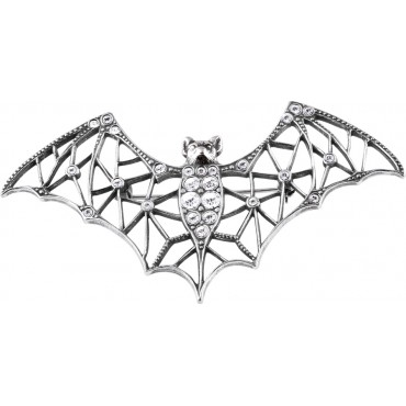 B641   Crystal Bat Brooch Sterling Silver Ari D Norman