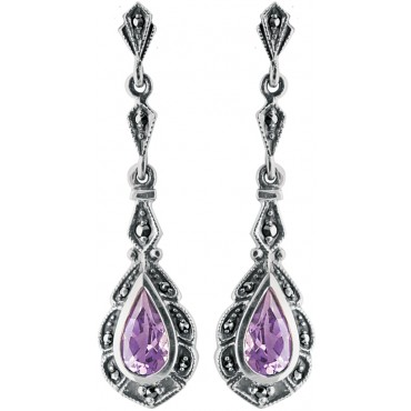 EA267   Amethyst and Marcasite Victorian Style Teardrop Earrings Sterling Silver Ari D Norman
