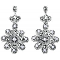 EA526   Marcasite and Pearl Art Nouveau Flower Earrings Sterling Silver Ari D Norman