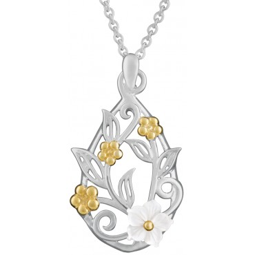 NK580 - Sterling silver and gold plated floral design pendant