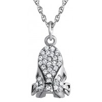 PT279   Crystal Set Riding Saddle Pendant on Chain Sterling Silver Ari D Norman