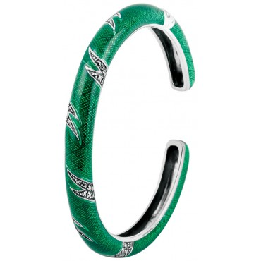 BE411 - Sterling Silver Green Enamel and Marcasite Bangle
